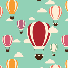 Background with hot air balloons, seamless pattern