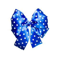 blue bow with white polka dots made from silk
