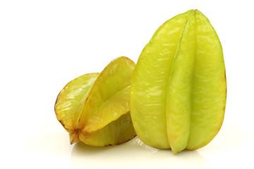 fresh green starfruit on a white background