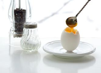 The Breakfast. Chicken egg, salt, pepper.