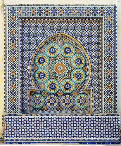 Foto op Canvas Marokko Morocco. Detail of oriental mosaic in Meknes