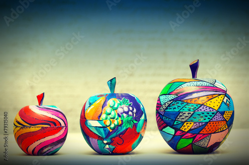 Wooden apples painted by hand. Handmade, contemporary art - 79315040
