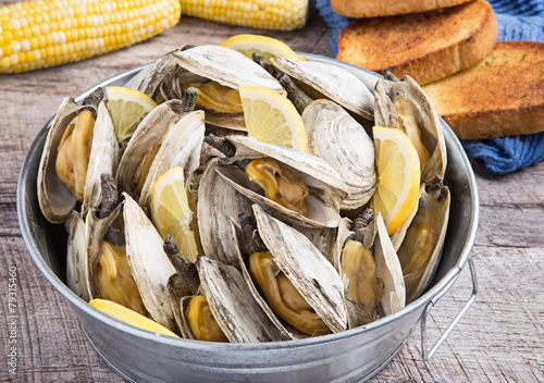 Bucket of steamed clams - 79315460