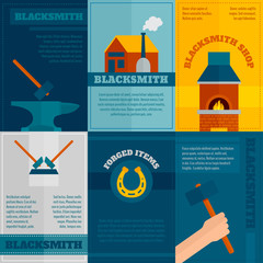 Blacksmith shop flat icons set