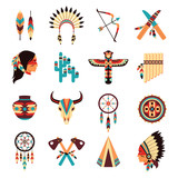 Ethnic american indigenous icons set - 79315818