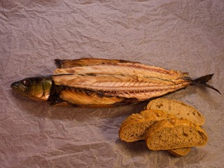 Smoked mackerel simple dish on wrapping paper