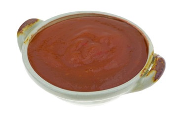 Side View Of Taco Sauce In A Small Bowl