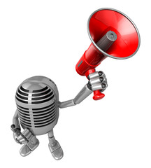 3D Classic Microphone Mascot the hand is holding a loudspeaker.