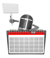 3D Classic Microphone Mascot hand is holding a picket and desk c