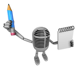 3D Classic Microphone Mascot hand is holding a notebook and Penc