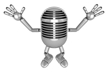3D Classic Microphone Mascot is startled again and again. 3D Cla