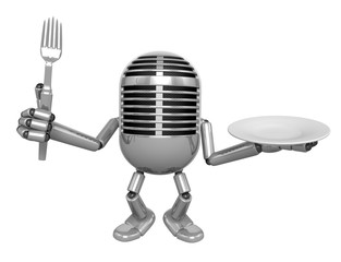 3D Classic Microphone Mascot hand is holding a Fork and Plate. 3