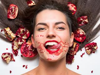 girl in pomegranate juice