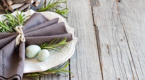 Fotobehang Assortiment Easter table setting