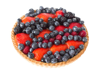 Close up Fresh Pie with Assorted Berries on Top