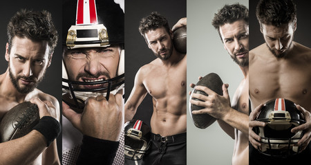 Football player photo collage
