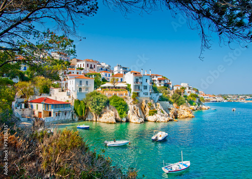 Tuinposter Eiland the Old part in town of island Skiathos in Greece