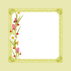 Decorative green frame with spring flowers and butterflies