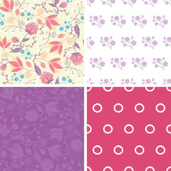 Vector Fresh Field Flowers and Leaves Set of Four Matching