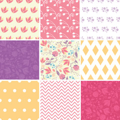 Vector Fresh Field Flowers and Leaves Set of Nine Matching