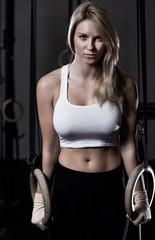Beauty woman during crossfit training