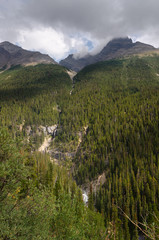 Bridal falls on Icefield Parkway in Canada
