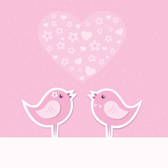 love theme card with cute birds in flower scene. vector illustra