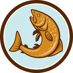 Brown Trout Jumping Circle Cartoon