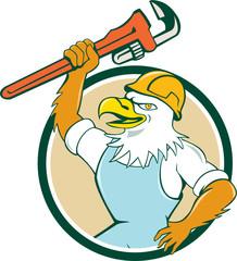 Bald Eagle Plumber Wrench Circle Cartoon