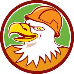 Bald Eagle Construction Worker Head Circle Cartoon