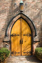Old arched wooden door