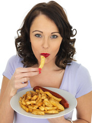 Young Woman Eating Saveloy and Chips