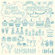 Hand drawn Birthday elements. Birthday party background - 79321042