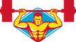 Weightlifter Bodybuilder Lifting Weights Retro