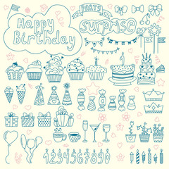 Hand drawn Birthday elements. Birthday party background