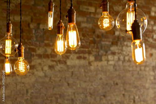 Leinwanddruck Bild Antique Light Bulbs