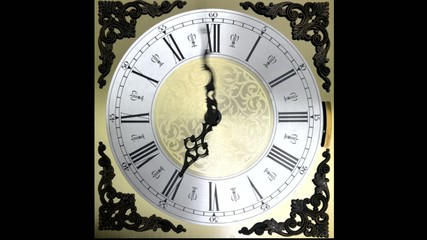 Clock face running backward at speed ornate grandfather time tra