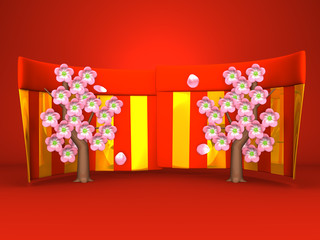 Cherry Blossoms And Red-Gold Curtains On Red Background
