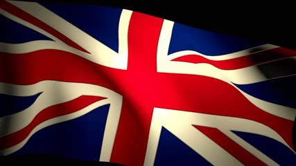 UK Britain Union Jack Flag Closeup Waving Backlit Seamless Loop