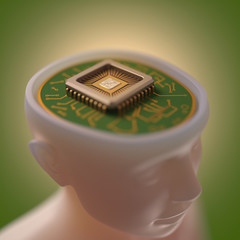 Microprocessor in the head. Concept of science and technology.