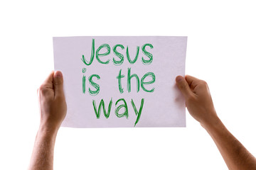 Jesus is the Way card isolated on white