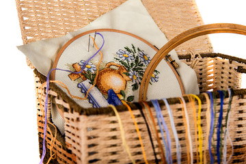 Set for knitting in a basket