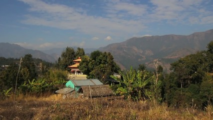 mountains with palm and temple in hindu Asia