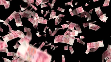 Yuan Chinese Money Falling Financial Win Currency Tax Black Back