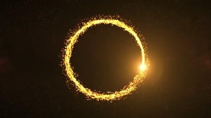 Golden Light Beam Particle Circle