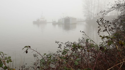 Workboats at Dock, Fraser River Fog