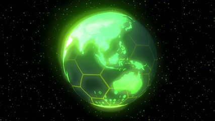 Earth planet world high tech display green