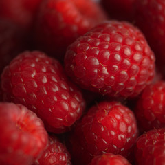 Raspberry background square composition red soft and juicy