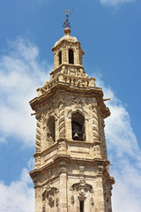 Bell tower of St Catalina church in Valencia, Spain.