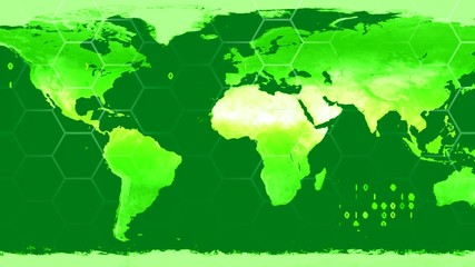 World map high tech digital satellite data view war room loop gr